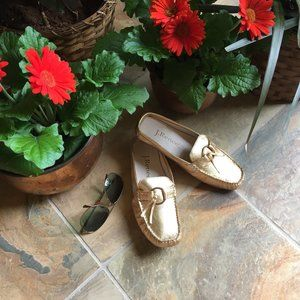 J. Renee Gold Metallic Leather Mule/Slide (NEW)